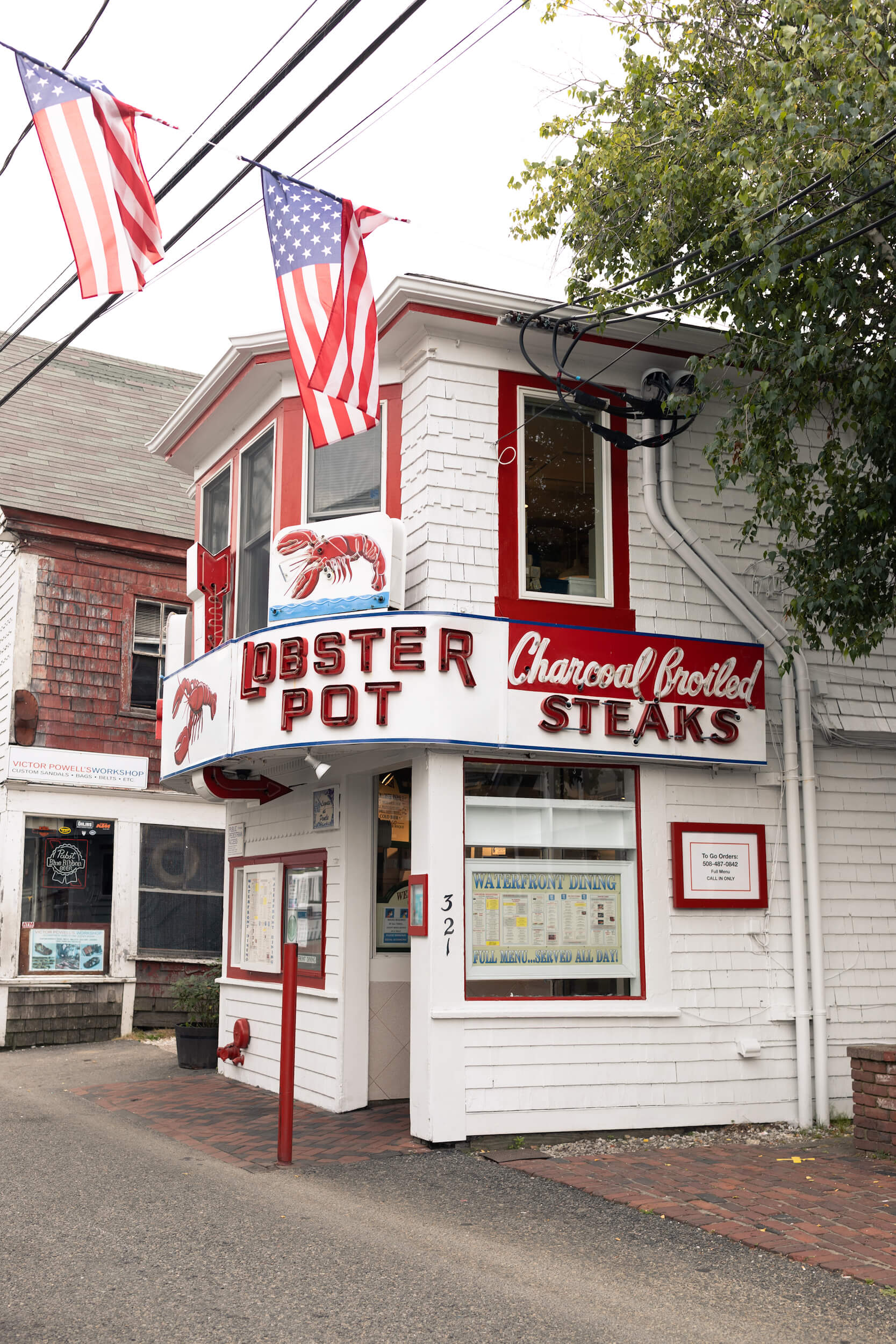 Exterior of The Lobster Pot restaurant on Commercial Street in Cape Cod, Massachusetts, USA.