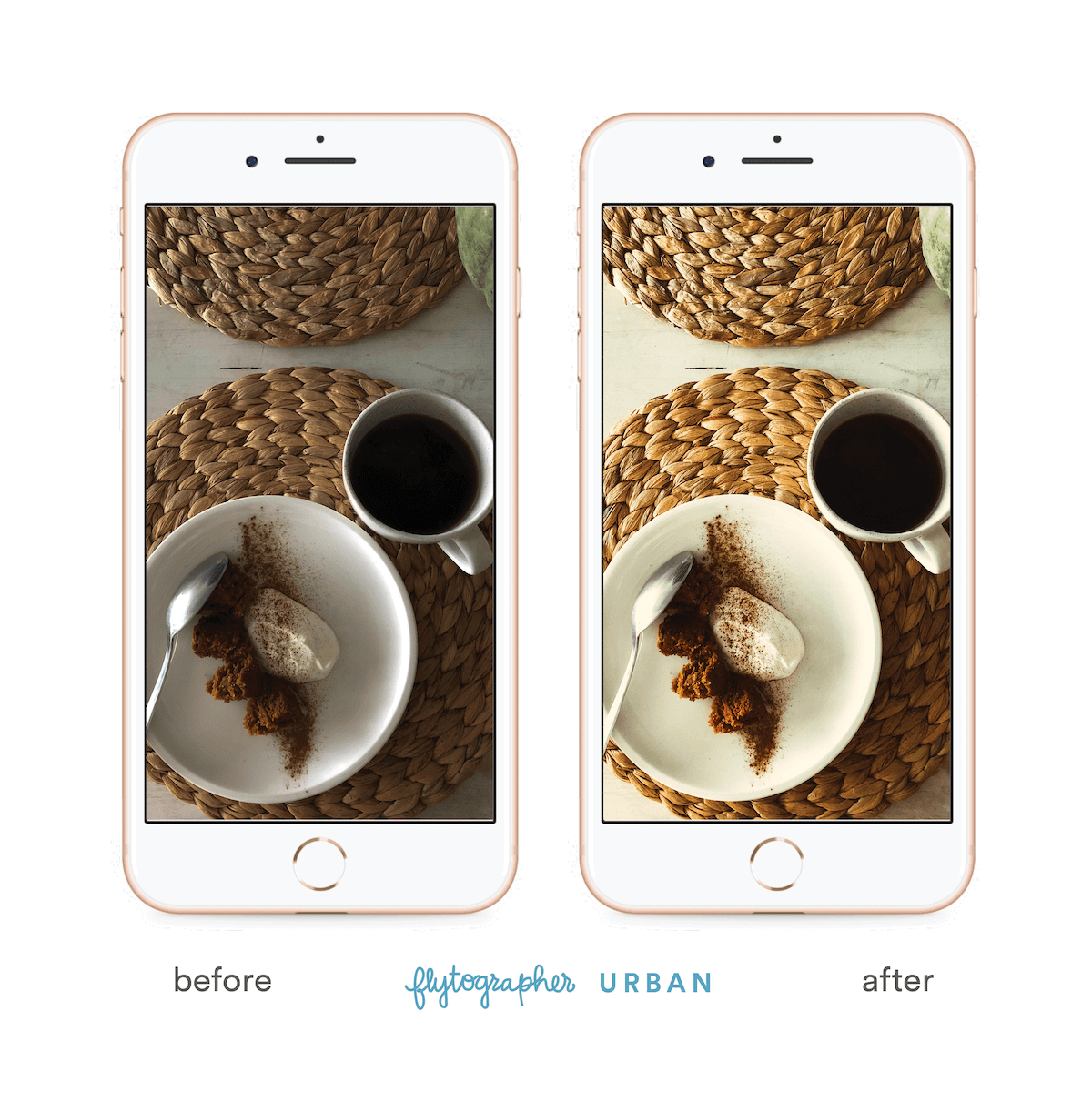 Coffee and yogurt breakfast before and after 'Flytographer Urban' preset