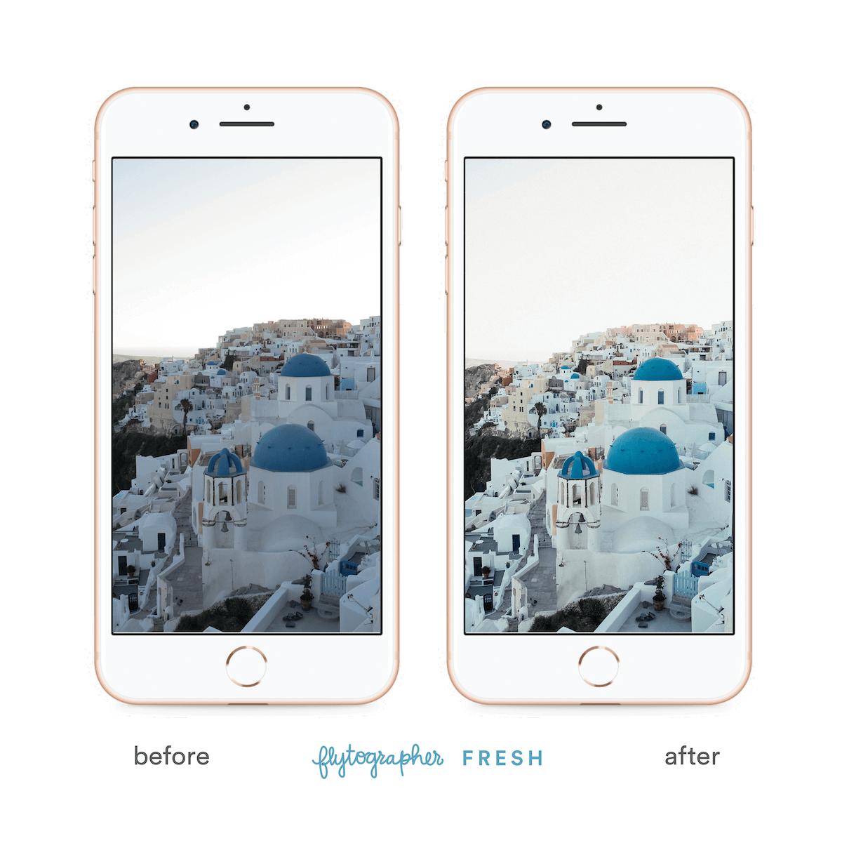Santorini buildings before and after 'Flytographer Fresh' preset