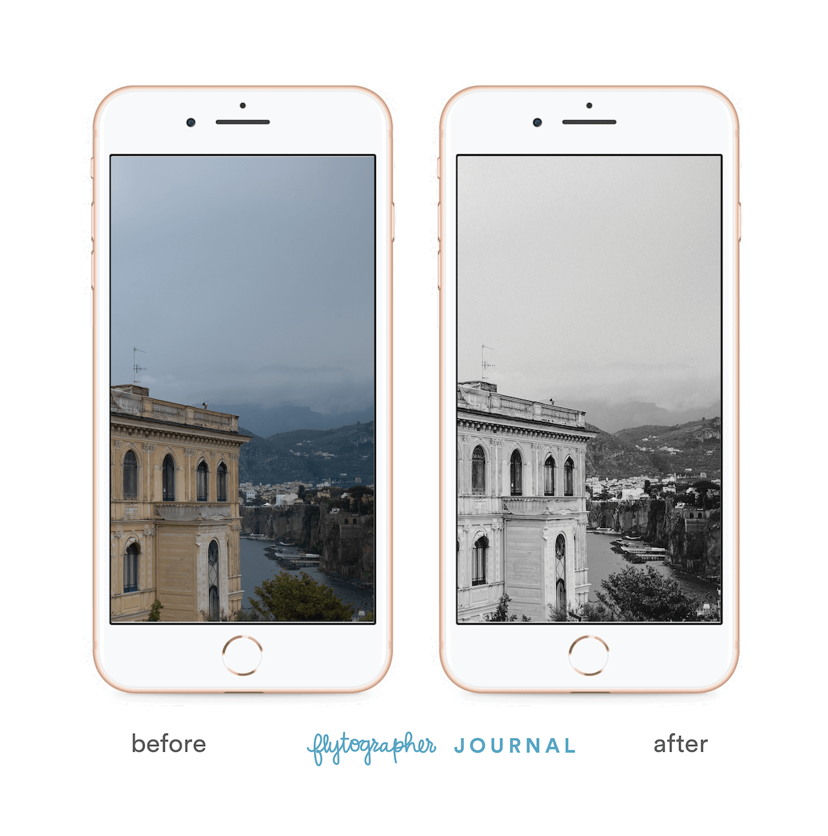 Picture of a building before and after 'Flytographer Journal' preset