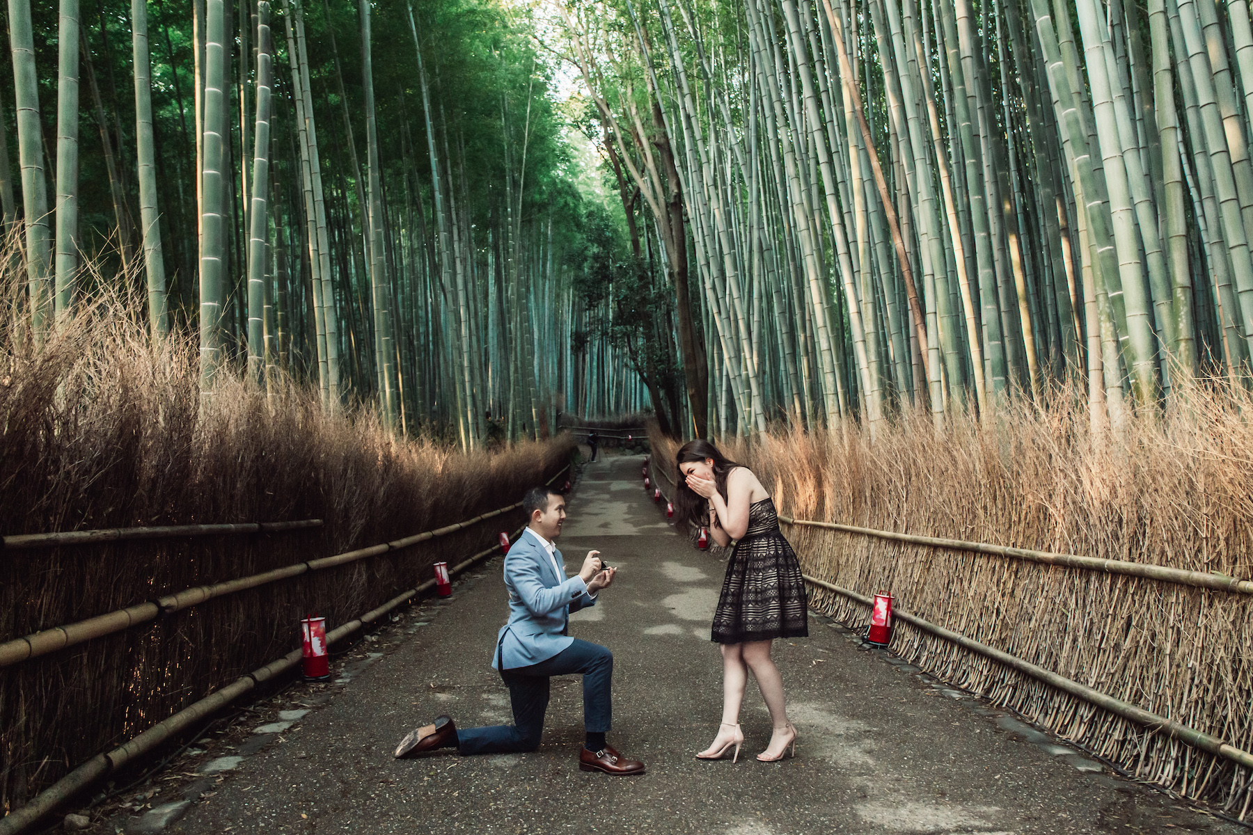 Couple in Kyoto and the man is proposing to the woman