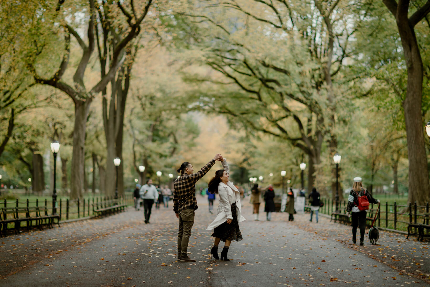 couple holding each other in central park NYC