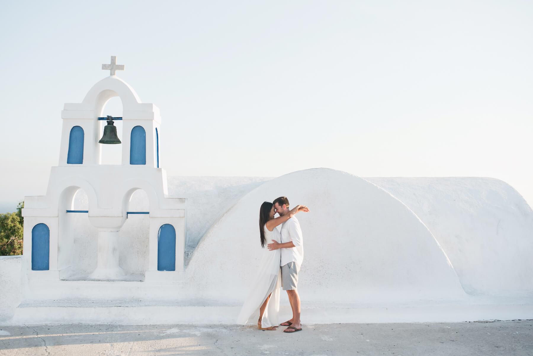 couple on honeymoon in Santorini, Greece Europe, Vacation photo shoot