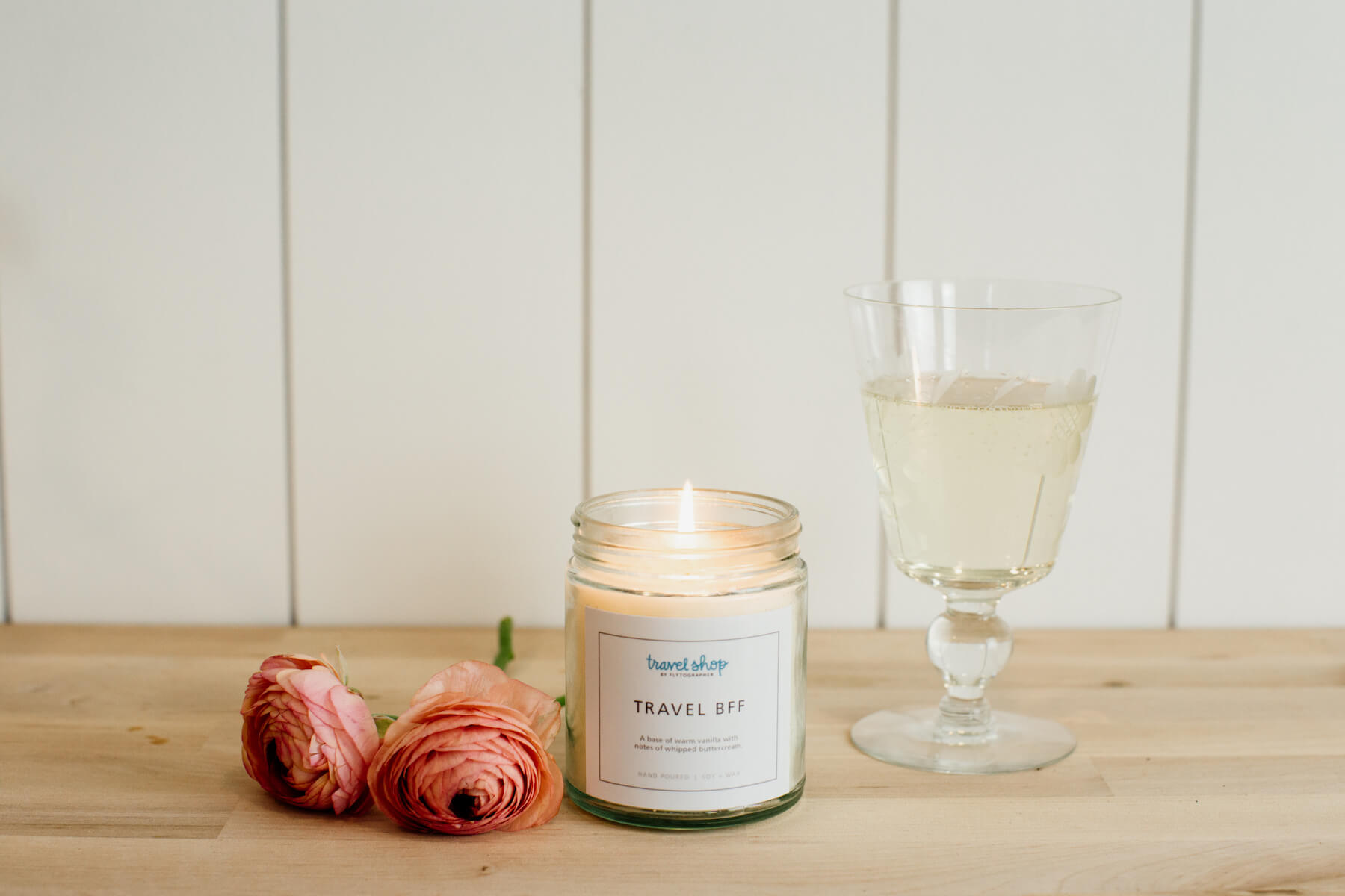 Shop gifts for travellers at the Travel Shop like this Travel-inspired candle, Travel BFF!