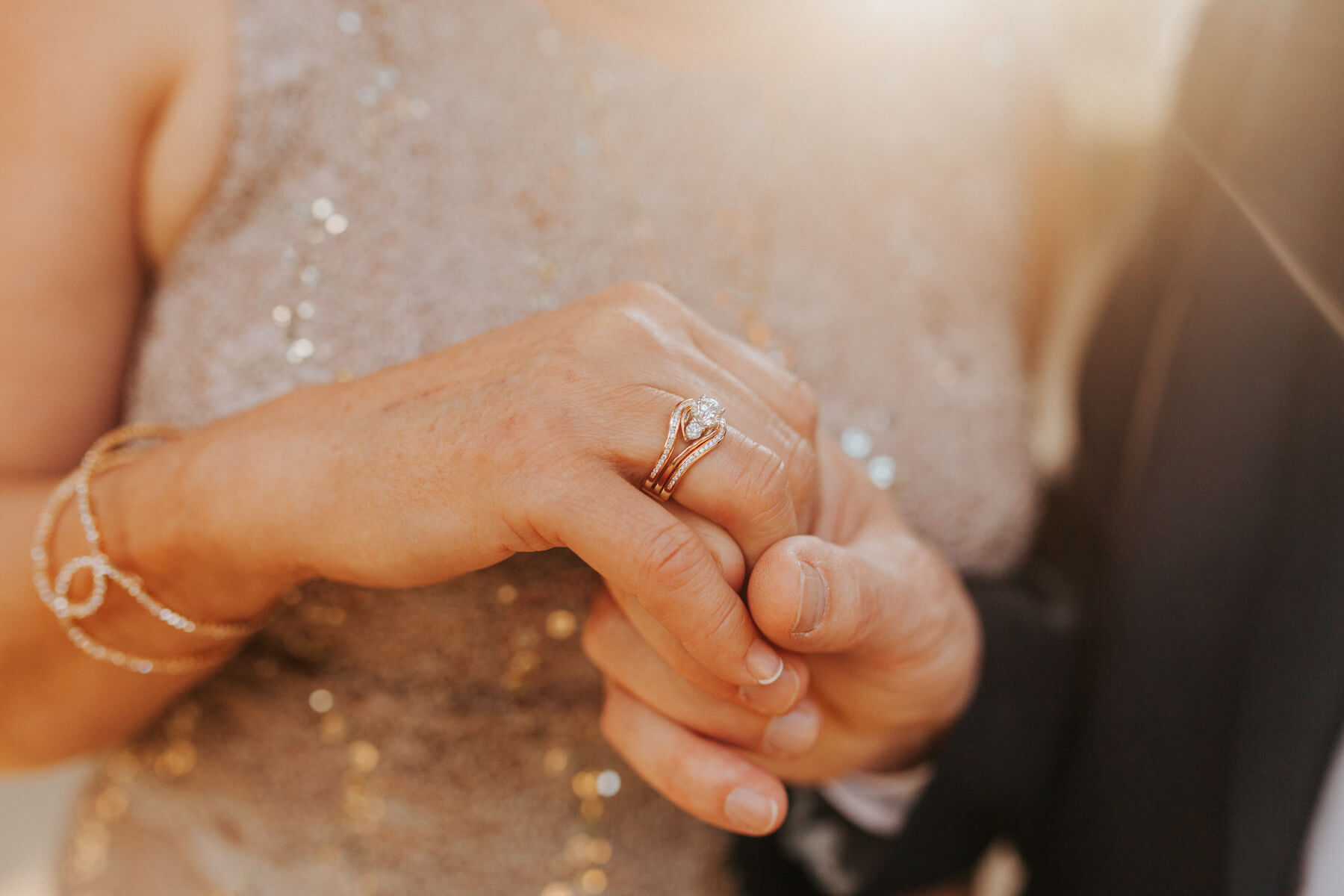 woman is showing the ring that she was given during her proposal in Madrid