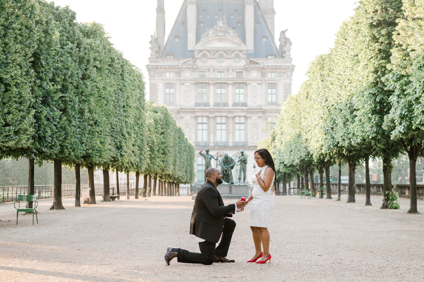 the man is on one knee proposing to the woman in Paris, both are wearing formal attire.