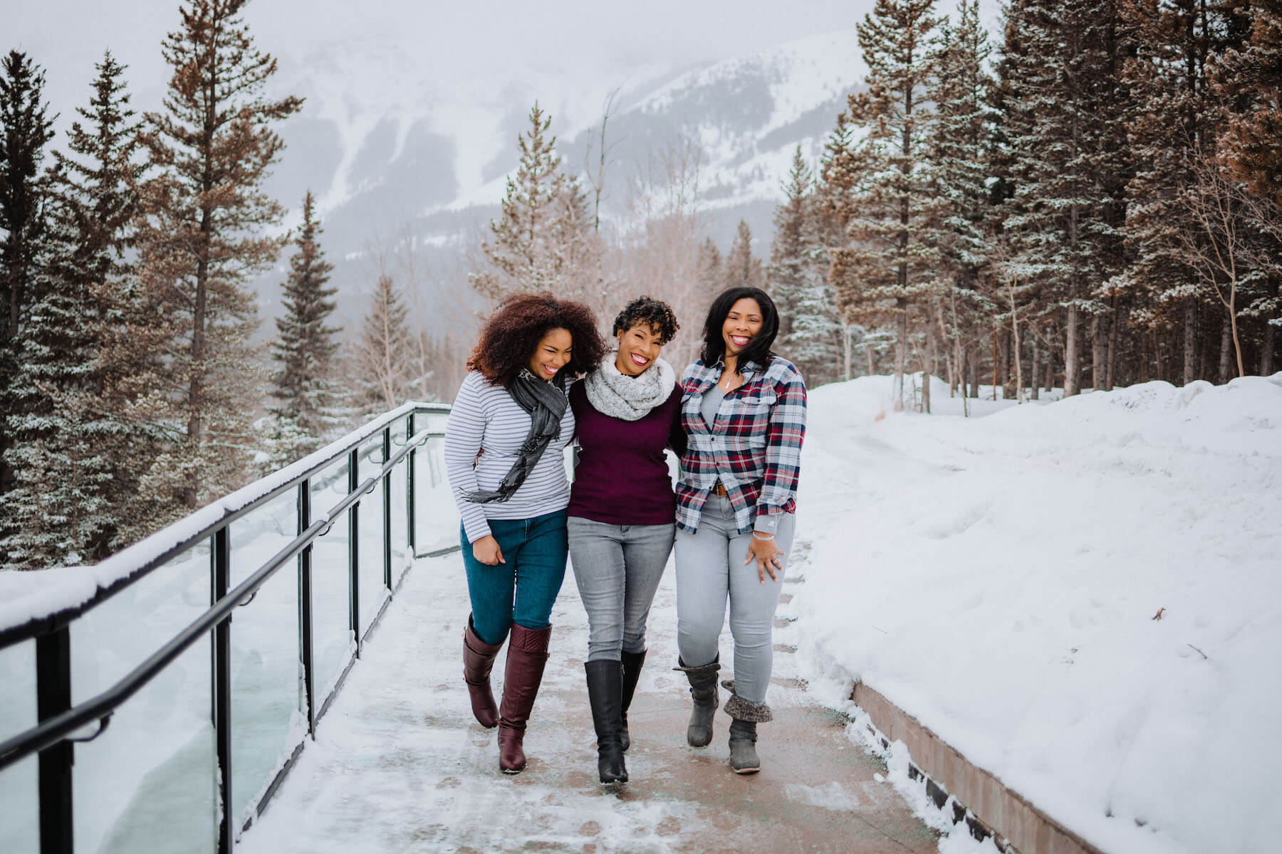 friends photo shoot in Banff Alberta in Canada with Flytographer