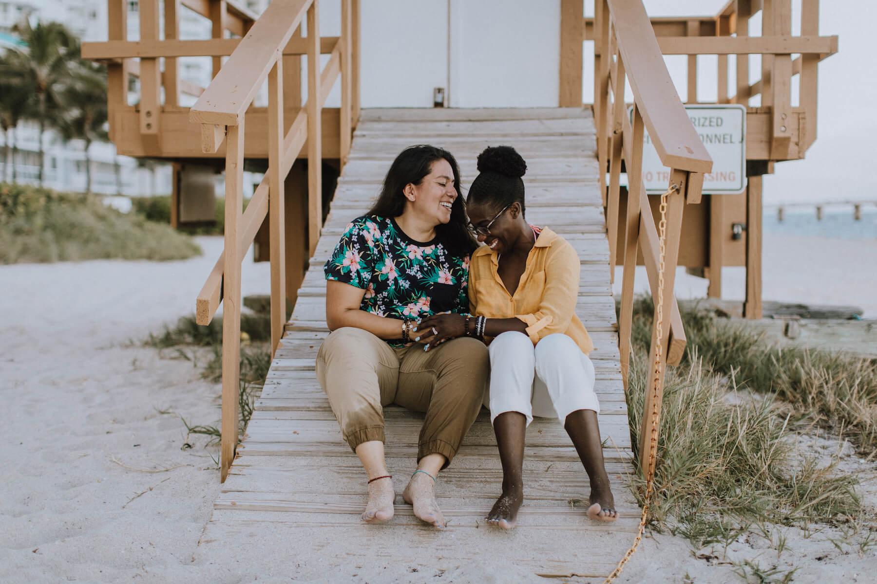 couple in Miami on their Flytographer photo shoot