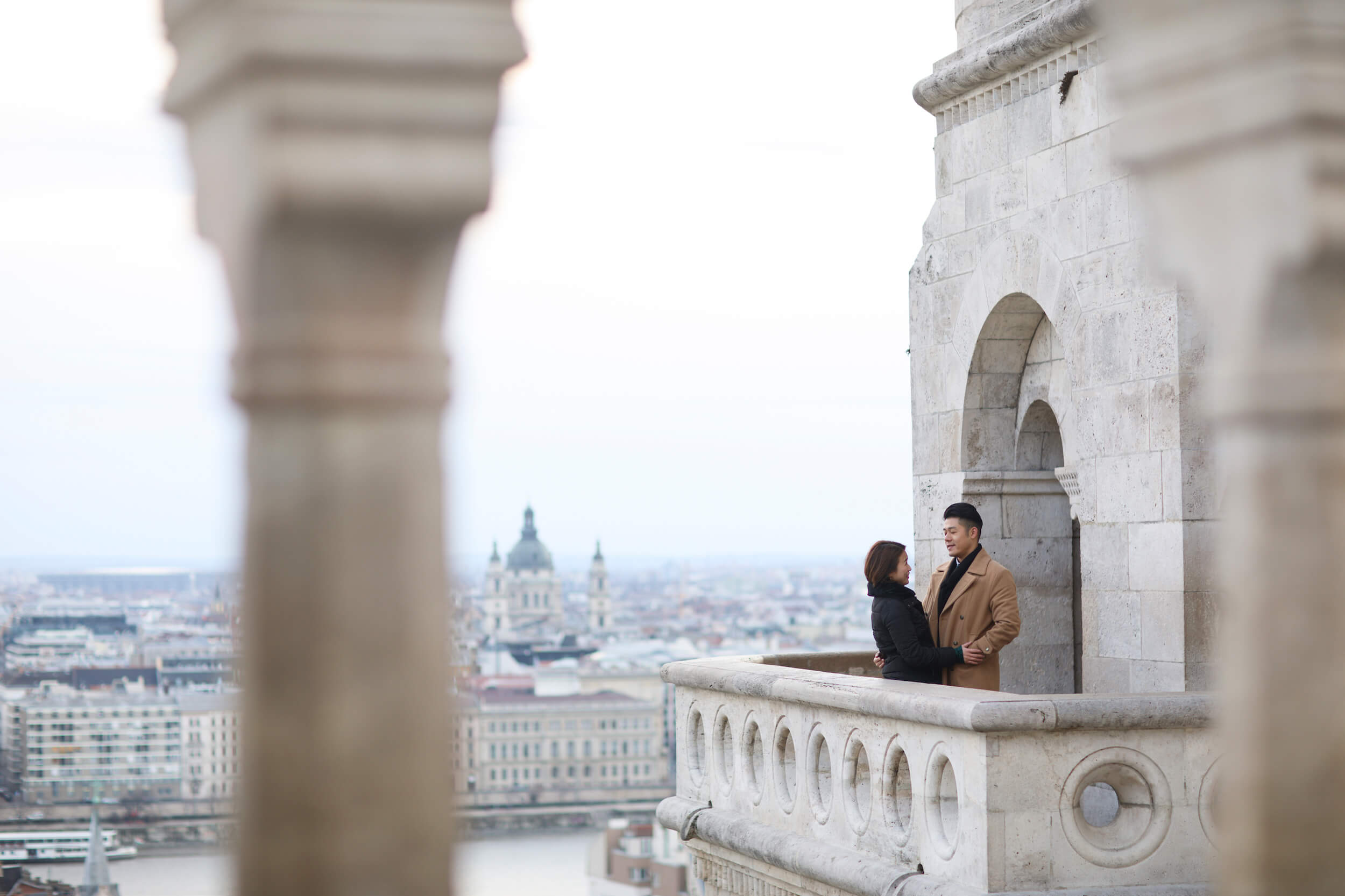 romantic couple photo shoot in Budapest captured by Flytographer