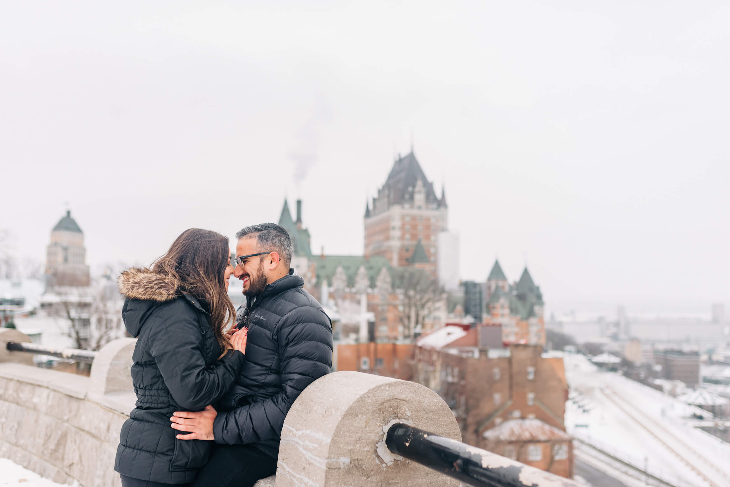 romantic couple photo shoot in quebec city captured by flytographer