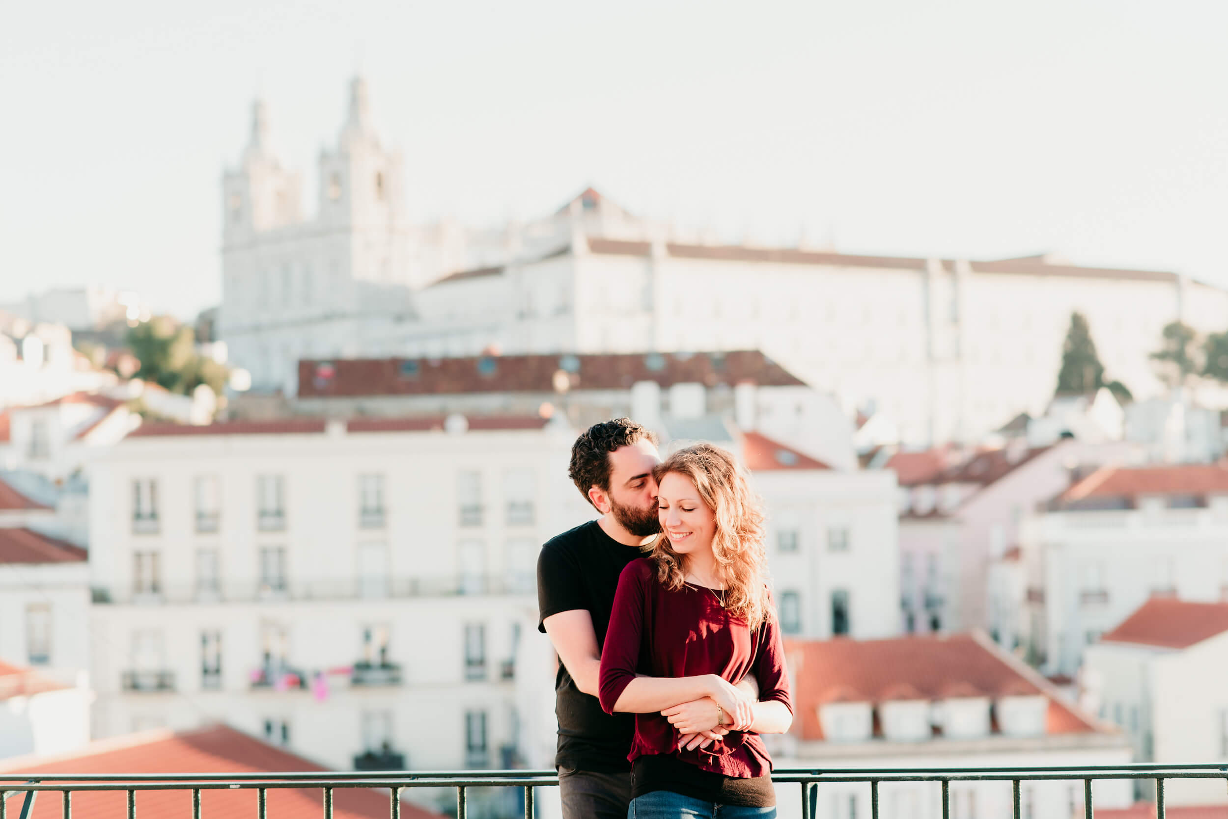 couple on a vacation in lisbon captured by Flytographer