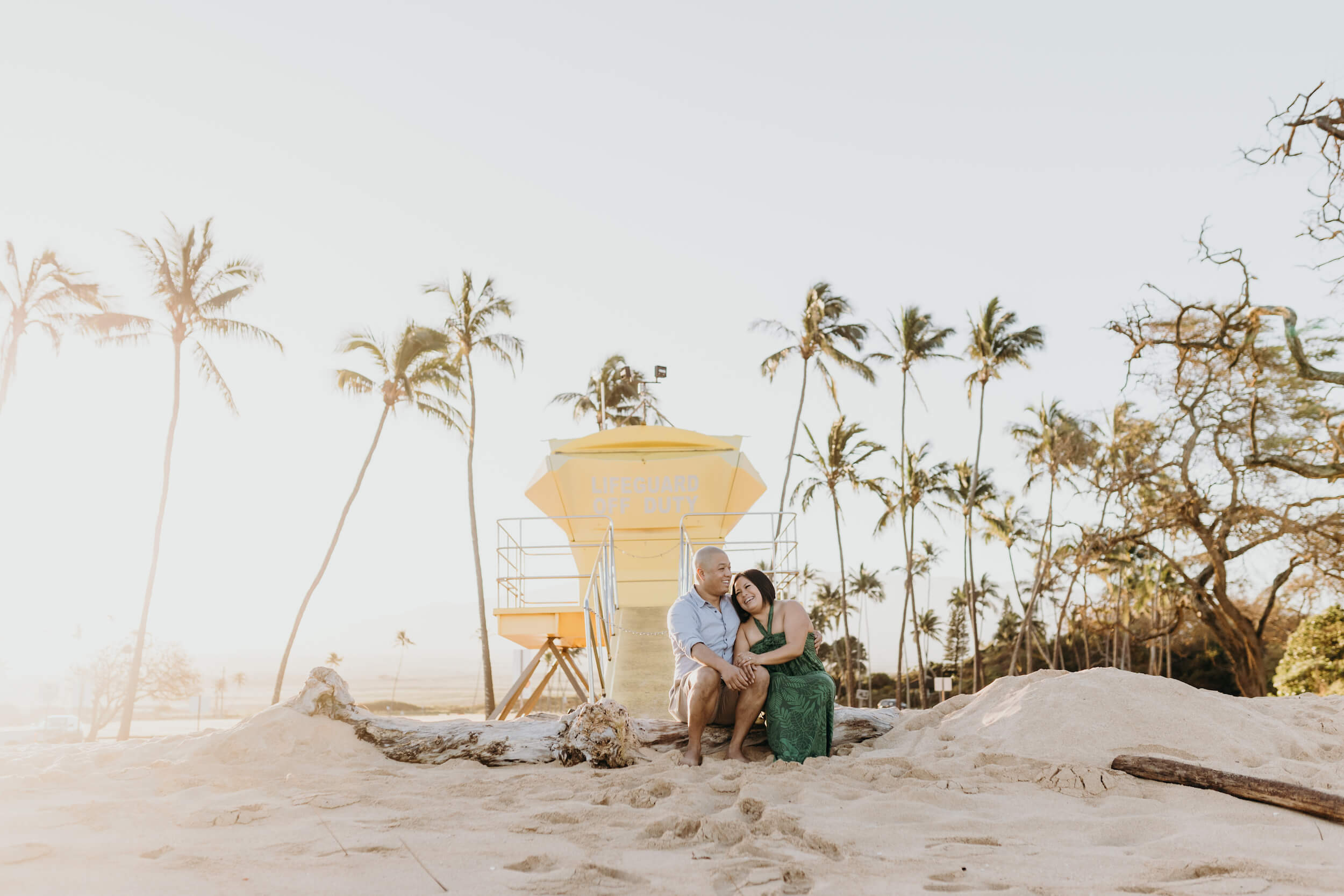 couple on the beach in Maui captured by Flytographer