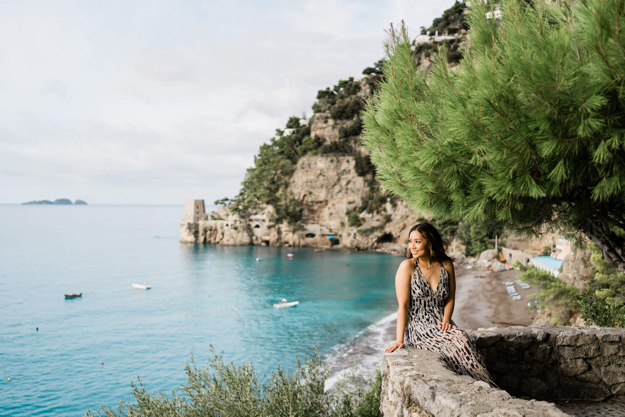 Solo traveller in Positano on the Amalfi Coast having a Flytographer photo shoot to capture memories