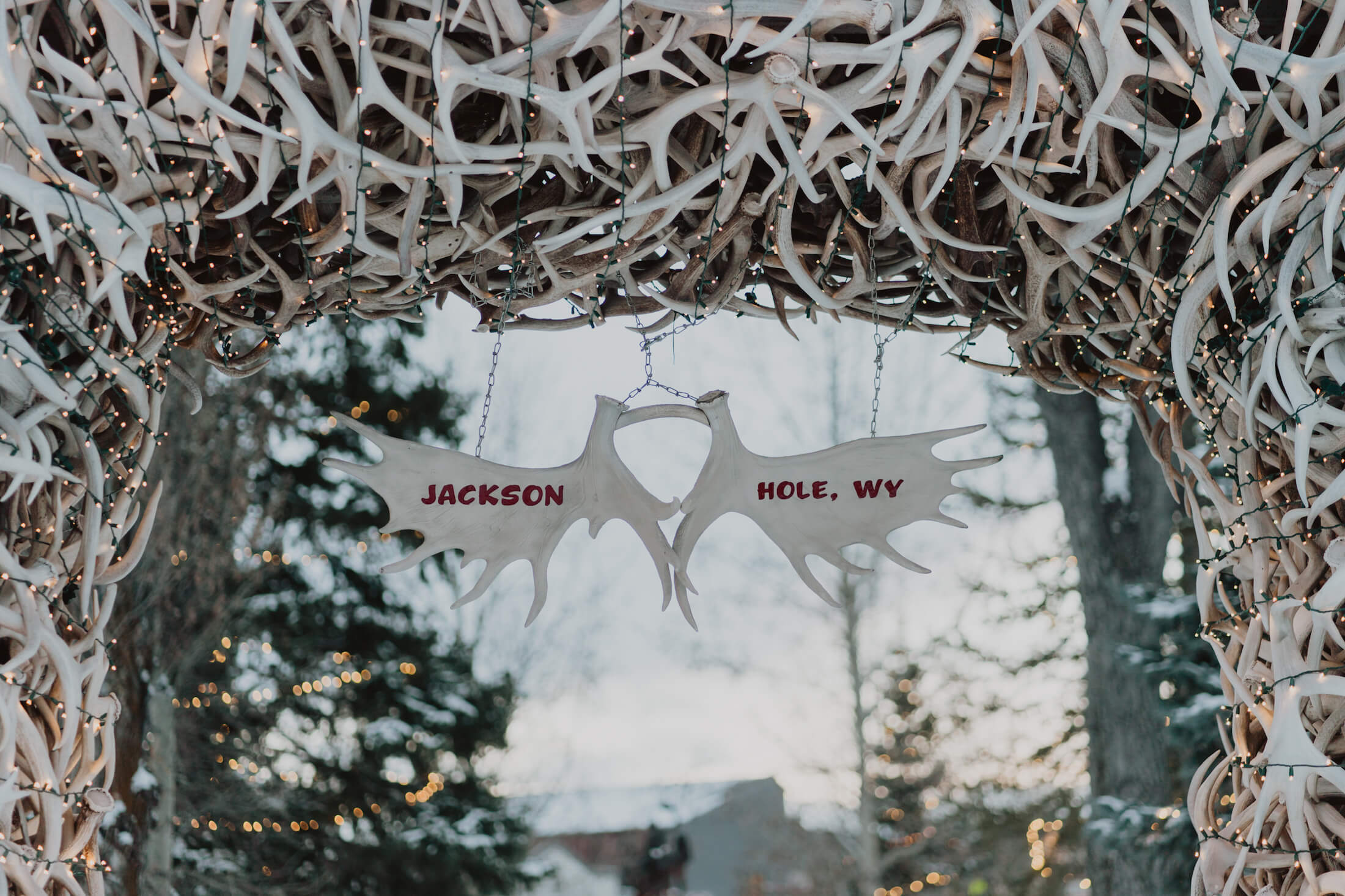 picture of antlers in town square in Jackson Hole, Wyoming
