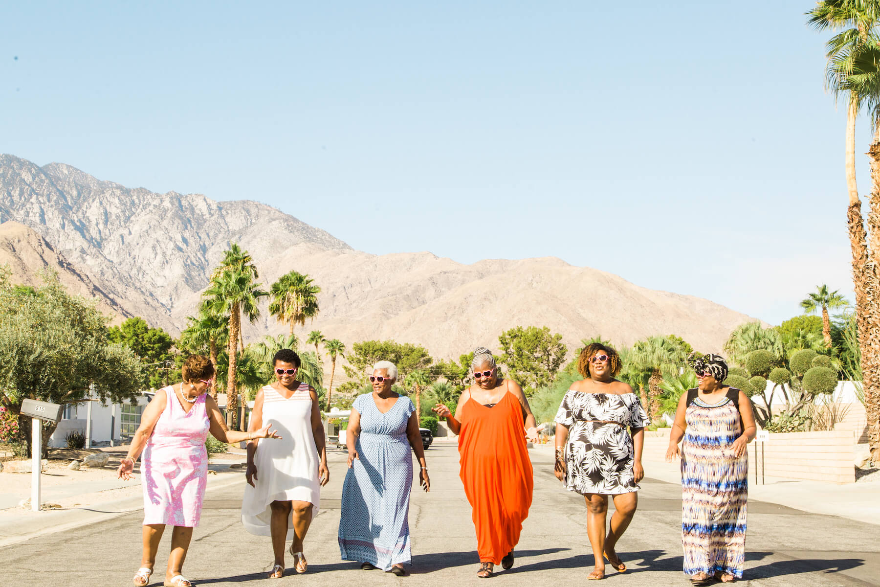 Friends celebrating a birthday in the best places to take photos in Palm Springs, California
