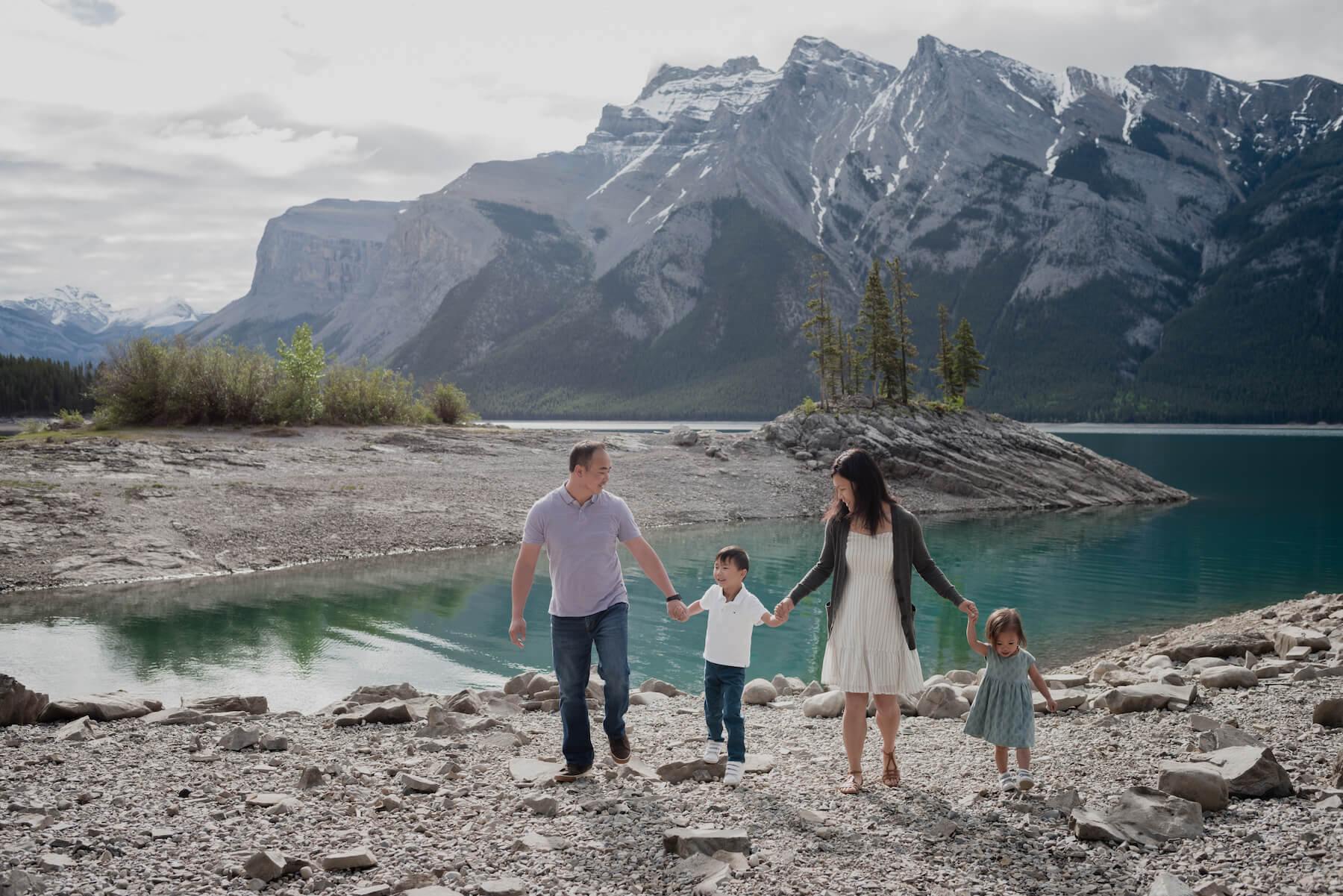 Family of 4 in Banff, Alberta