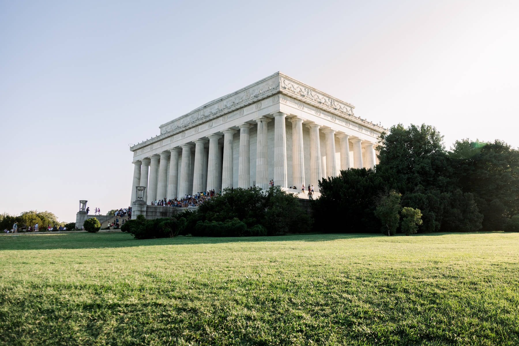 The Lincoln Memorial from the grass in Washington DC captured by Flytographer.