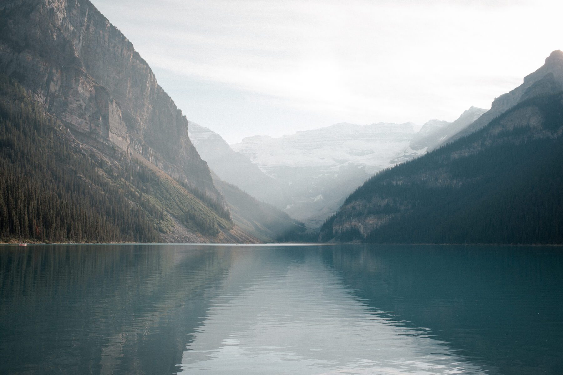 Calm morning on Lake Louise in Banff, Canada