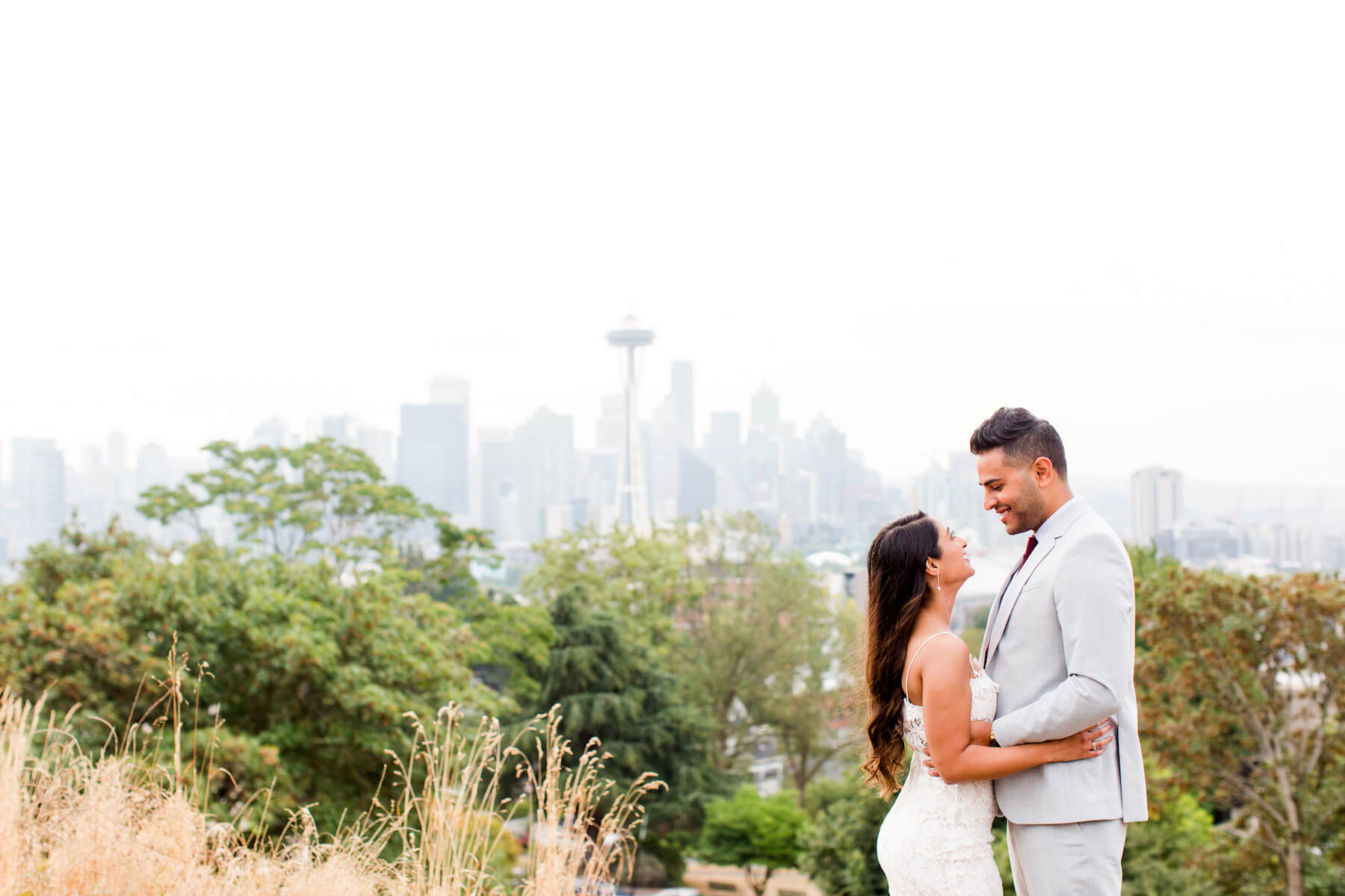 a surprise proposal happening at Kerry Park in Seattle Washington with Flytographer.